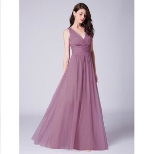 Orchid  A Line V Neck Long Tulle Pleated Bodice